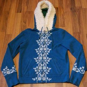 Lucky Brand Teal Embroidered Hoodie Sweatshirt
